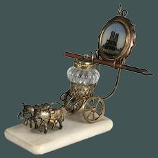 Palais Royal French BACCARAT inkwell bronze cart, watch holder 19th century
