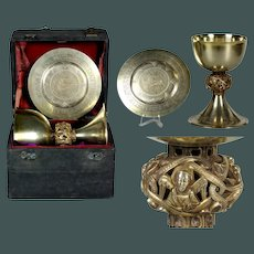 Gothic Style Museum quality Antique 19th century French Sterling Silver & vermeil Chalice & original Paten in box