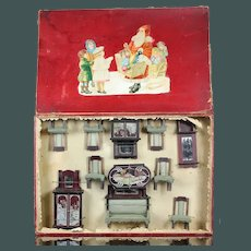 Antique French Winter decor Christmas gift, German Miniature Furniture for Mignonette or Dolls House presentation box.