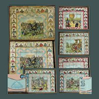 19th Century French History Wood lithograph block Puzzle, Battles, Hot Air Balloon, Jeanne d'Arc, Napoleon Bonaparte