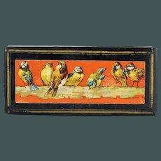 19th Century French Napoleon III school pencil box Papier mache lithograph