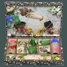 19th century Paris French paper flower bouquetiere presentation box dolls Assessories