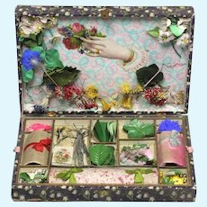 19th century Paris French paper flower bouquetiere presentation box dolls Assessories