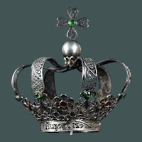 Fine Antique French Solid silver filigree Bejeweled Santos medium Crown / Couronne late 18th - early 19th century