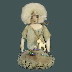 Antique French blonde curly head Doll marked: Parisienne, Paris memorial pin cushion