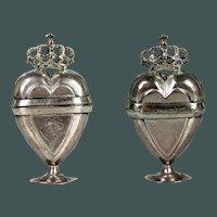 Antique Hallmarked c 1770s sterling silver Crowned Heart Scandinavian Spice Marriage Wedding  Box
