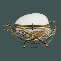 Antique Palais Royal French BACCARAT white Opaline Glass egg-shaped wedding gift box 19th century