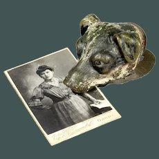 Unusual Antique 19th century cold paint hunting dog Vienna bronze Austria paper clip