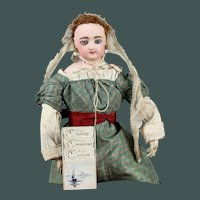 """Antique 3.15"""" Miniature  Blue & White leather 3 book holder French 19th century fashion Huret doll"""