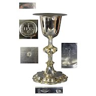 French antique 19th century solid silver Catholic Communion Wine Cup Chalice and Paten Set 950/1000