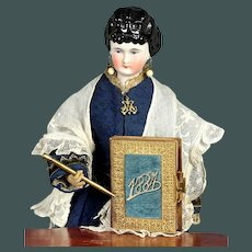 """Magnificent antique 1884 Parisian 3.3"""" MINIATURE leather Gold cute book diary by French  fashion Huret china doll"""