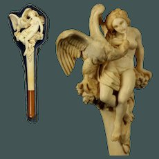 """Museum quality 19th century Huge 8.35"""" Carved Meerschaum antique Pipe & Amber special """" Leda with the Swan """""""
