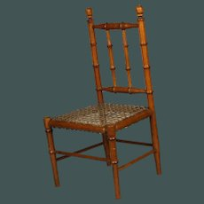 """Beautiful Antique French small 16.5"""" faux-bamboo chair for bisque doll"""