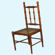 "Beautiful Antique French small 16.5"" faux-bamboo chair for bisque doll"