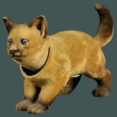 """Antique 10"""" Early 1900's Siamese cat kitty Nodder, Candy Container Felted Paper Mache - composition"""