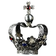 Antique French fine Solid silver filigree Bejeweled Santos small Crown / Couronne  late 18th century - early 19th century