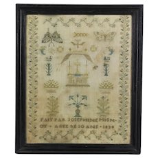 RARE Josephine Mignot age 10 date 1838 Beautiful antique French FINE Needlework Sampler & Metal Beads
