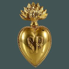 "4"" Extraordinary Rare Inital: SR antique gilded brass Sacred French Ex Voto Sacred Heart 19th century"