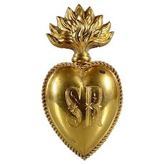 "4"" Extraordinary Rare Inital: SR antique gilded brass Sacred French Ex Voto Sacred Heart 19th century"