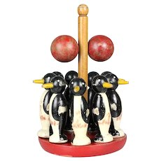 Antique French Primitive toy, wooden penguins Bowling game skittle set, ten pins & balls