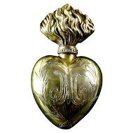 Antique 19th Century French Paris Gilded Brass Holy Heart of Mary Sacred Ex Voto Heart holy water flacon