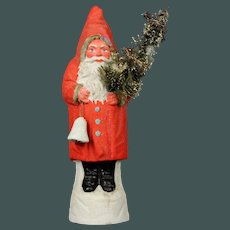 "Rare Antique German 11"" paper mache with mica Santa Claus candy container Christmas tree & bell"