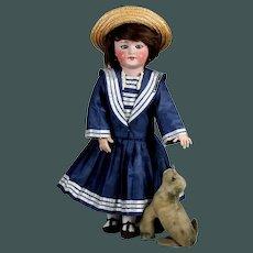 """Antique 20 """"French Bisque Navy cabinet walk doll SFBJ 301 Paris & Steiff seal"""