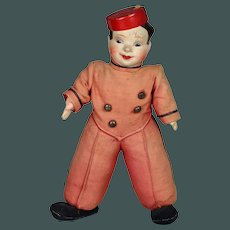 RARE Vintage 1930s composition / cloth doll with rattle Bellboy Straw Stuffed