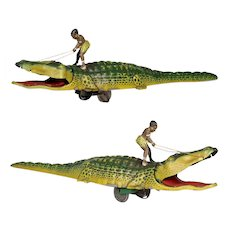 1930s Boy drive Alligator lithographed tinplate clock work wind up tin toy Technofix Germany