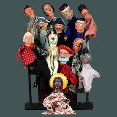 Super RARE collection 14 piece antique French Papier-mache Composition Guignol hand puppet theater