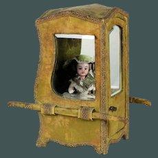 Perfect silk Vitrine de Boudoir 19th century small 10.5 inch Mignonette doll sedan chair
