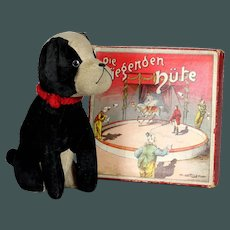 "Rare Black and White 9.6 ""VELVET 1920s French Dog Good Size by Antique Doll, related to Steiff"