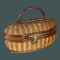 "Antique Super fine little 3.1 "" Wicker Picnic Basket for French Fashion Doll Poupee, Huret, Rohmer, Bru, Jumeau."