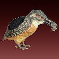 19th century Vienna bronze Kingfisher pen nib wipe marked Geschütz