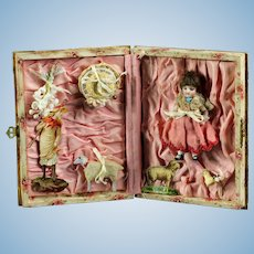 "Antique French All - bisque 3.2"" mignonette doll in a wonderful original presentation country life box , circa 1890's"