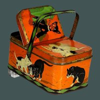 Unusual Antique Marked: PARIS lithograph tin Candy container / lunch bucket / picnic basket CAT & DOG