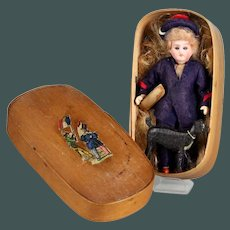"6"" French Marine Boy mignonette German doll TOULON DEP 22 Recknagel & boat & dog in Bentwood box"