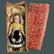 "All original Antique 8 ""French character LANTERNIER, Limoges bisque doll in French provincial fashion"