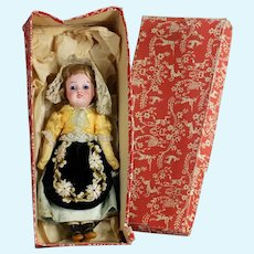 """All original Antique 8 """"French character LANTERNIER, Limoges bisque doll in French provincial fashion"""
