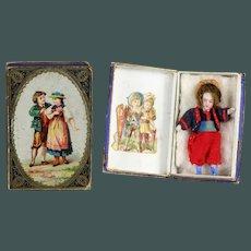 19th century All Bisque SFBJ BOY Lilliputian in presentation box Mignonette French doll