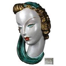 Art Deco Goldschneider Wien Terracotta wall mask from the 1930s