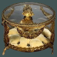 "Unusual shape Antique French ormolu huge 6.3"" dome & round glass bronze jewelry box display trinket box"