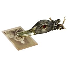 Top quality antique 19th century Vienna bronze duck with glass eyes paper clip / letter holder