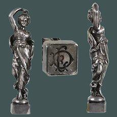 Antique Napoleon III silver / bronze French wax seal dancing elegant lady Greek goddess w/ amphora jar