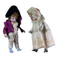"Unique Pair French Lilliputian Mignonettes all - bisque dolls 2.75"" in 18th century costumes"