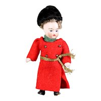 """Cossaks costume in original clothing FRENCH Lilliputian Mignonette tiny doll all - bisque doll 3.15 """""""
