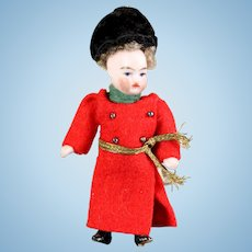Cossaks costume in original clothing FRENCH Lilliputian Mignonette tiny doll all - bisque doll 3.15 ""