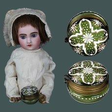 "1.2"" Miniature Antique Magnificent MOSER, Enamel & Moss Green glass dresser jar trinket box by fashion doll Huret"