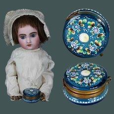 "1"" Miniature Antique Beautiful MOSER, Enamel & Turquoise blue glass dresser jar trinket box by fashion doll Huret"