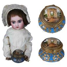 "Palais Royal 1.6 ""Miniature Blue opaline glass dresser jar trinket box by fashion doll Huret"